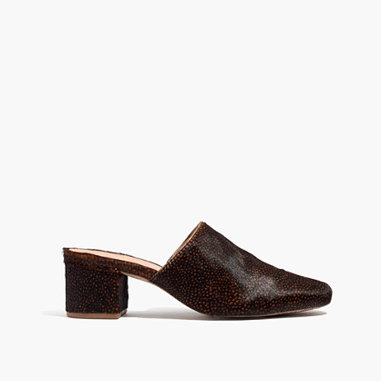The Walker Mule in Spotted Calf Hair