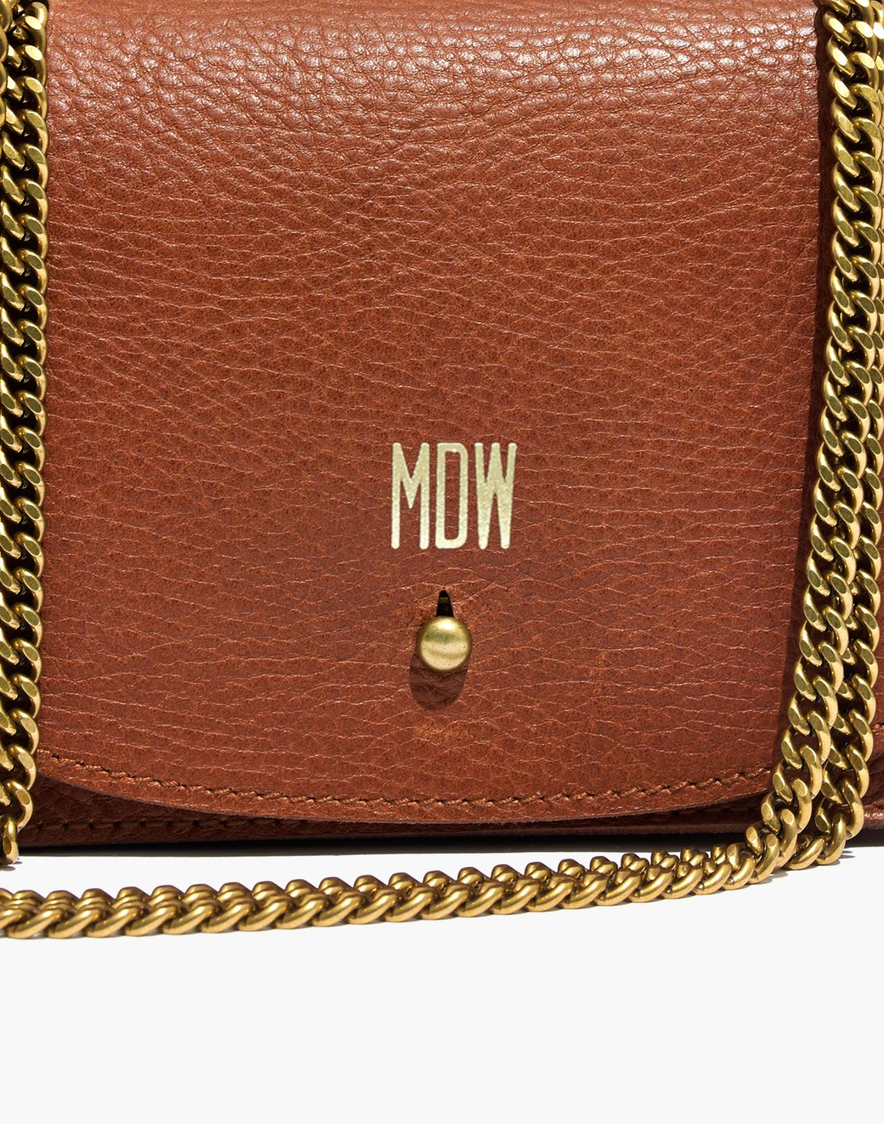 The Chain Crossbody Bag in english saddle image 3