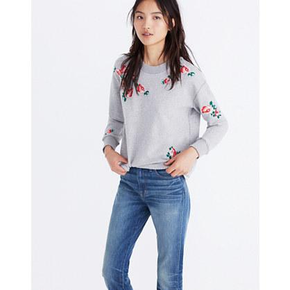 Embroidered Cutoff Sweatshirt