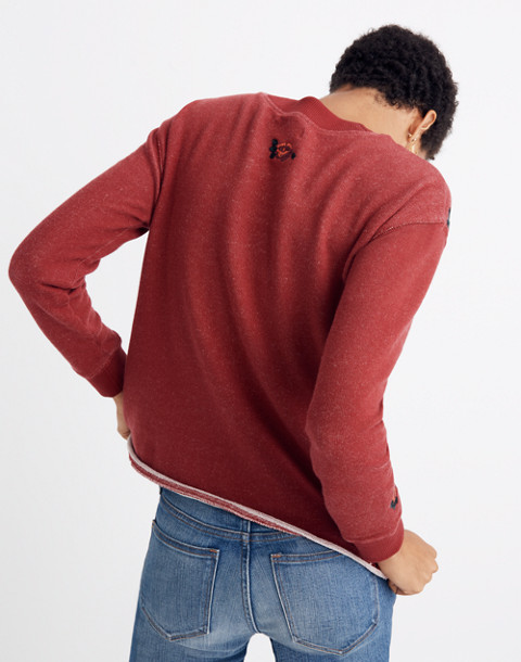 Embroidered Cutoff Sweatshirt in deep crimson image 2