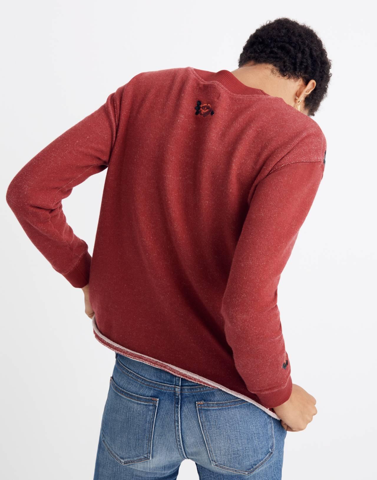 Embroidered Cutoff Sweatshirt in deep crimson image 2