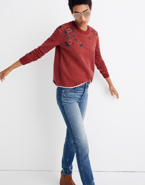 Embroidered Cutoff Sweatshirt in deep crimson image 3