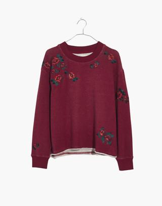 Embroidered Cutoff Sweatshirt in deep crimson image 4
