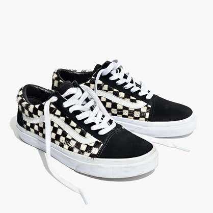 Madewell x Vans® Unisex Old Skool Lace-Up Sneakers in Checked Calf Hair