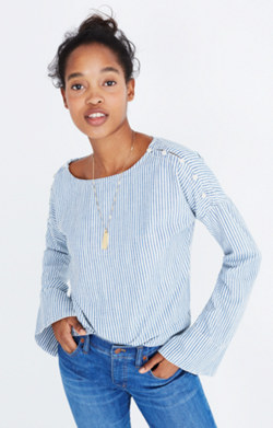 Convertible Cold-Shoulder Top in Chambray Stripe