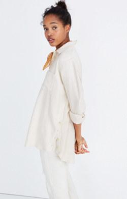 Flannel Oversized Ex-Boyfriend Shirt: Side-Button Edition