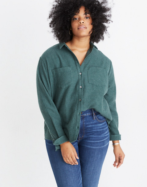 Flannel Sunday Shirt in hunter green image 1