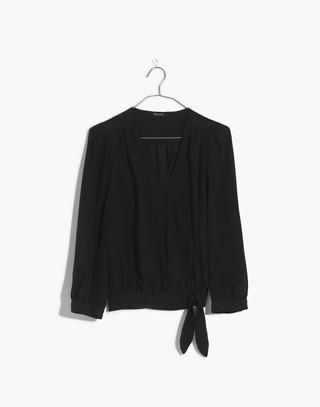 Silk Wrap Top in true black image 4