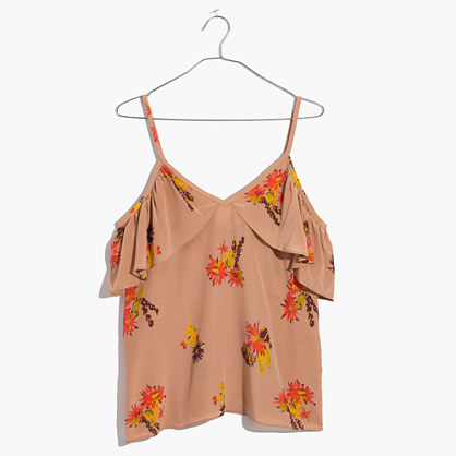 Silk Cold-Shoulder Ruffle Top in Cactus Flower