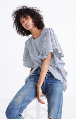 Indigo-Striped Butterfly-Sleeve Top