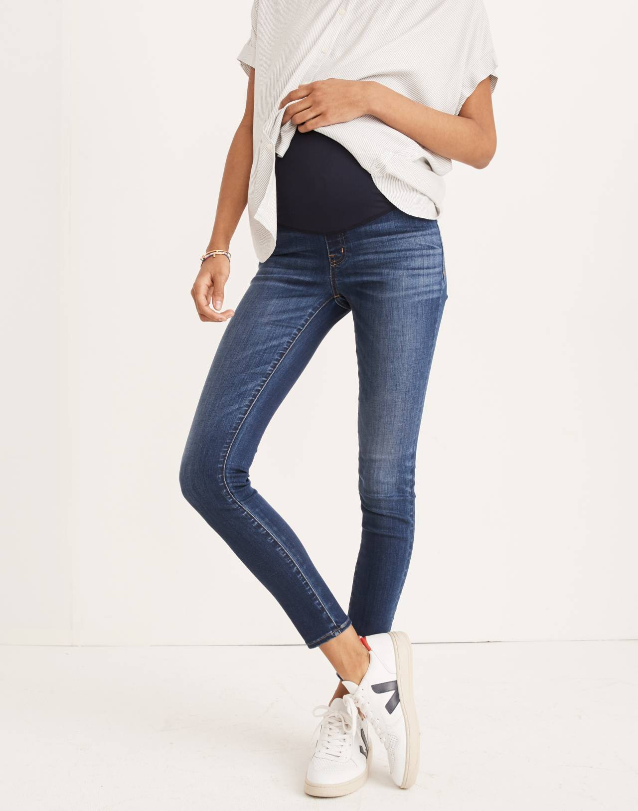 Maternity Over-the-Belly Skinny Jeans in Danny Wash: Tencel™ Edition in danny image 1