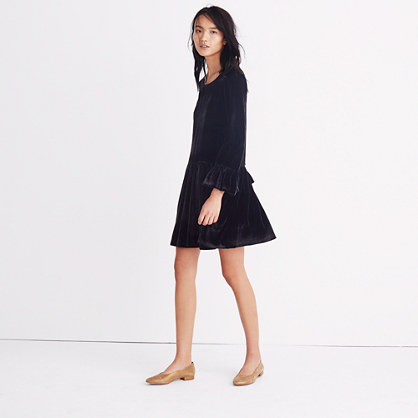Velvet Bell-Sleeve Dress