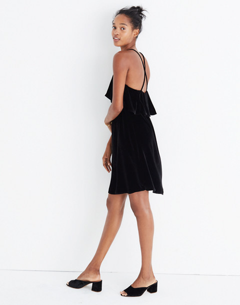 Velvet Ruffle Mini Dress in true black image 3