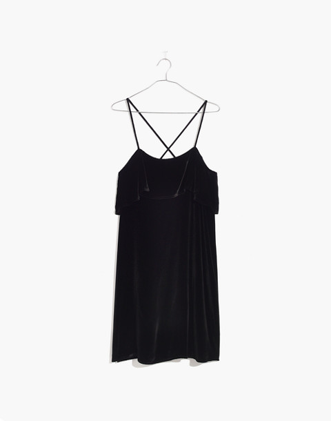 Velvet Ruffle Mini Dress in true black image 4