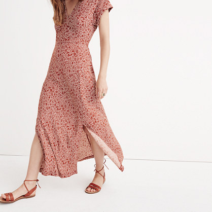 Deep-V Maxi Dress in Woodcut Floral
