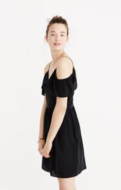 Silk Cold-Shoulder Ruffle Dress