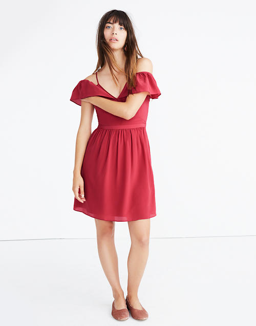 1b5cc17487 Silk Cold-Shoulder Ruffle Dress