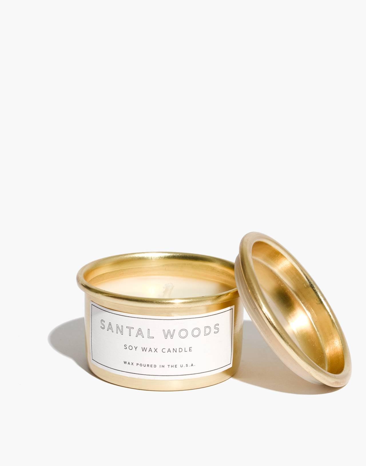 Mini Metal Tumbler Candle in santal woods image 1