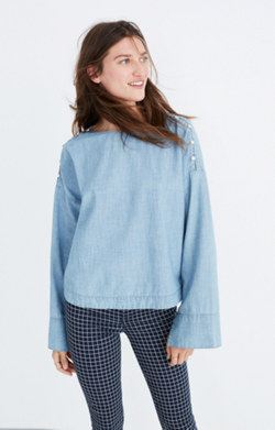Convertible Cold-Shoulder Top in Indigo