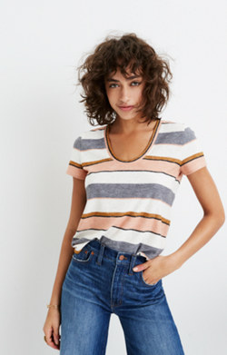 Alto Scoop Tee in Eller Stripe