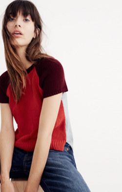 Colorblock Crop Sweater Tee