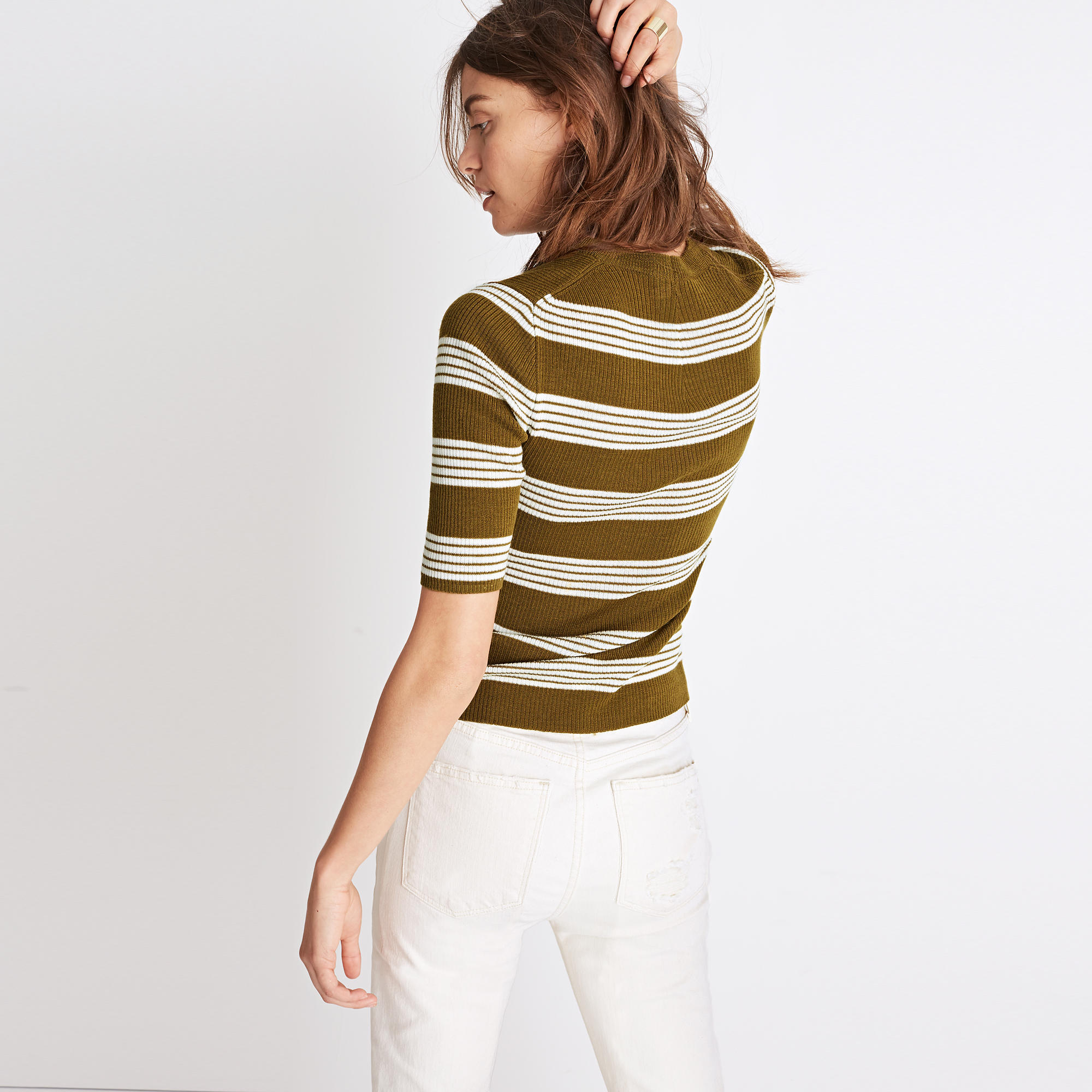 Ribbed Sweater Top in Bennett Stripe : sleeveless & short sleeve ...