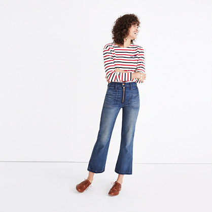 Rivet & Thread Extra-High Kick Out Jeans: Exposed Zip Edition