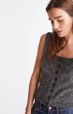 Button-Front Sweater Tank