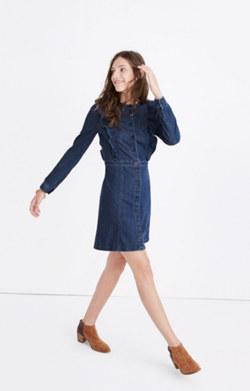 Denim Ruffle-Front Dress