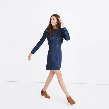 Denim Ruffle-Front Dress