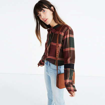 Plaid Tie-Neck Shirt
