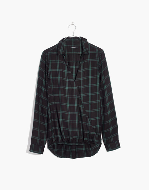 Wrap-Front Shirt in Palma Plaid in old vine image 4