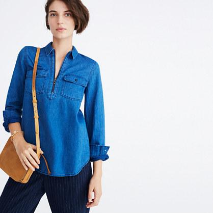 Indigo Zip-Front Popover Shirt
