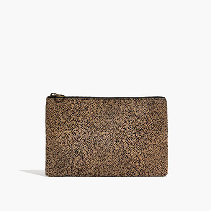 The Leather Pouch Clutch in Spotted Calf Hair