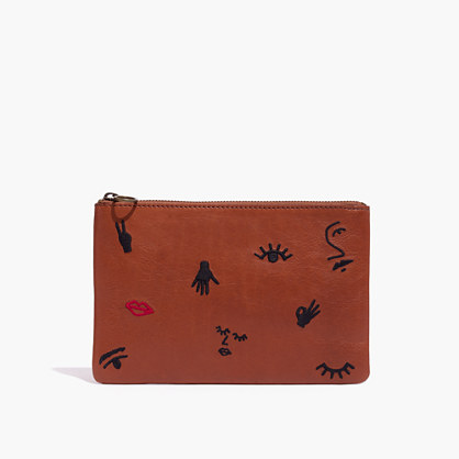 The Leather Pouch Clutch: Embroidered Icon Edition