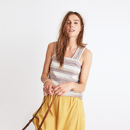 Apron Button-Back Tank Top in Stripe