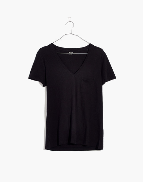 Whisper Cotton V-Neck Pocket Tee in true black image 1