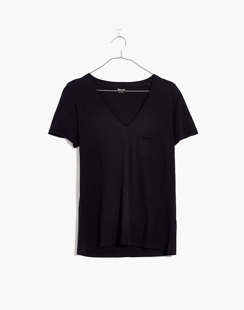 d444bdd9db03 Whisper Cotton V-Neck Pocket Tee in true black image 4