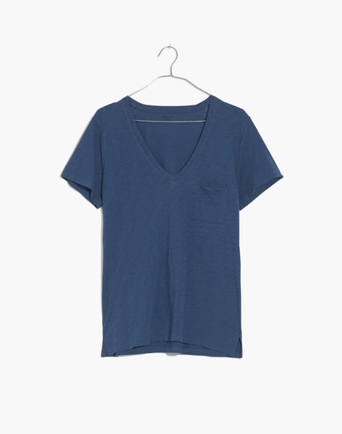 Whisper Cotton V-Neck Pocket Tee in blue moon image 4
