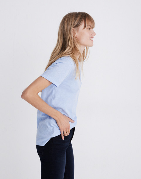 Whisper Cotton V-Neck Pocket Tee in fragile peri image 2