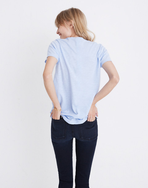 Whisper Cotton V-Neck Pocket Tee in fragile peri image 3