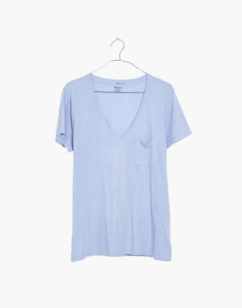 Whisper Cotton V-Neck Pocket Tee in fragile peri image 4