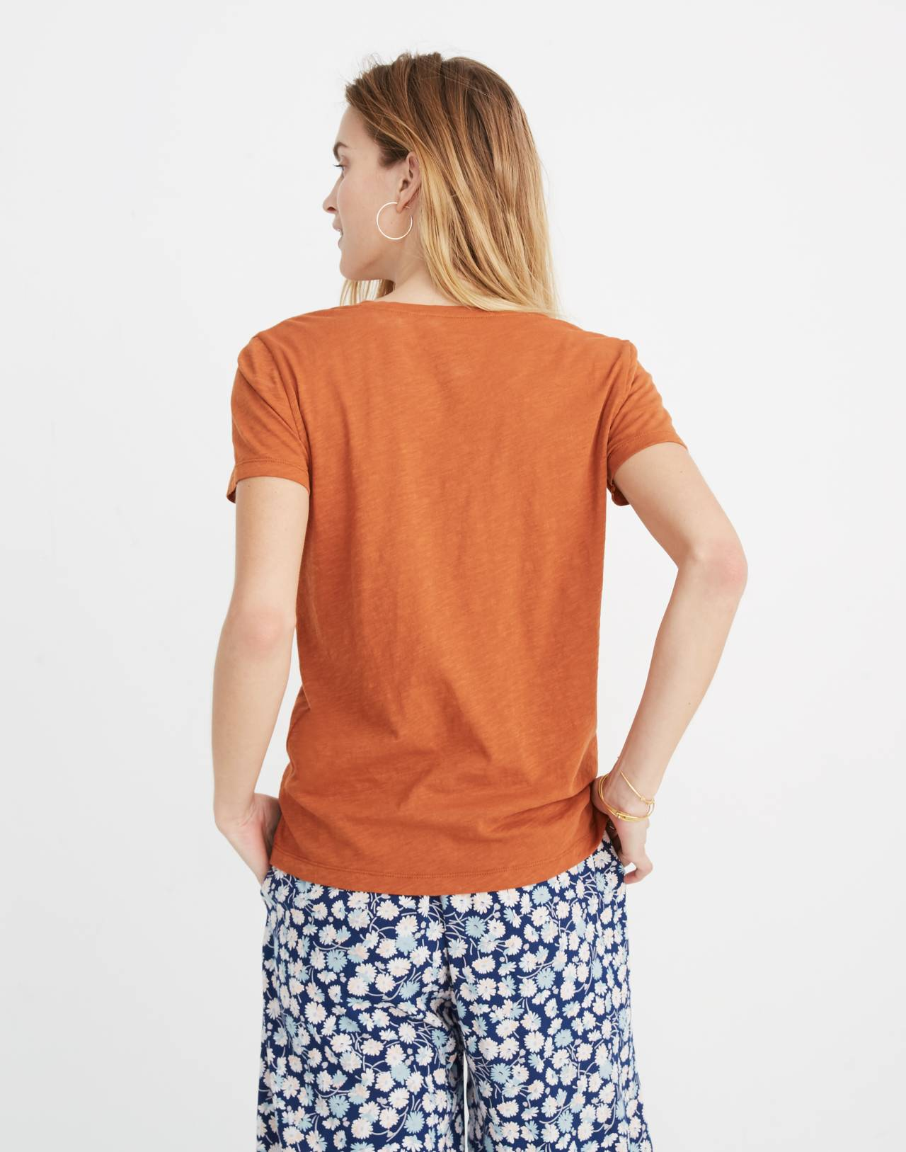 Whisper Cotton V-Neck Pocket Tee in burnt clay image 3