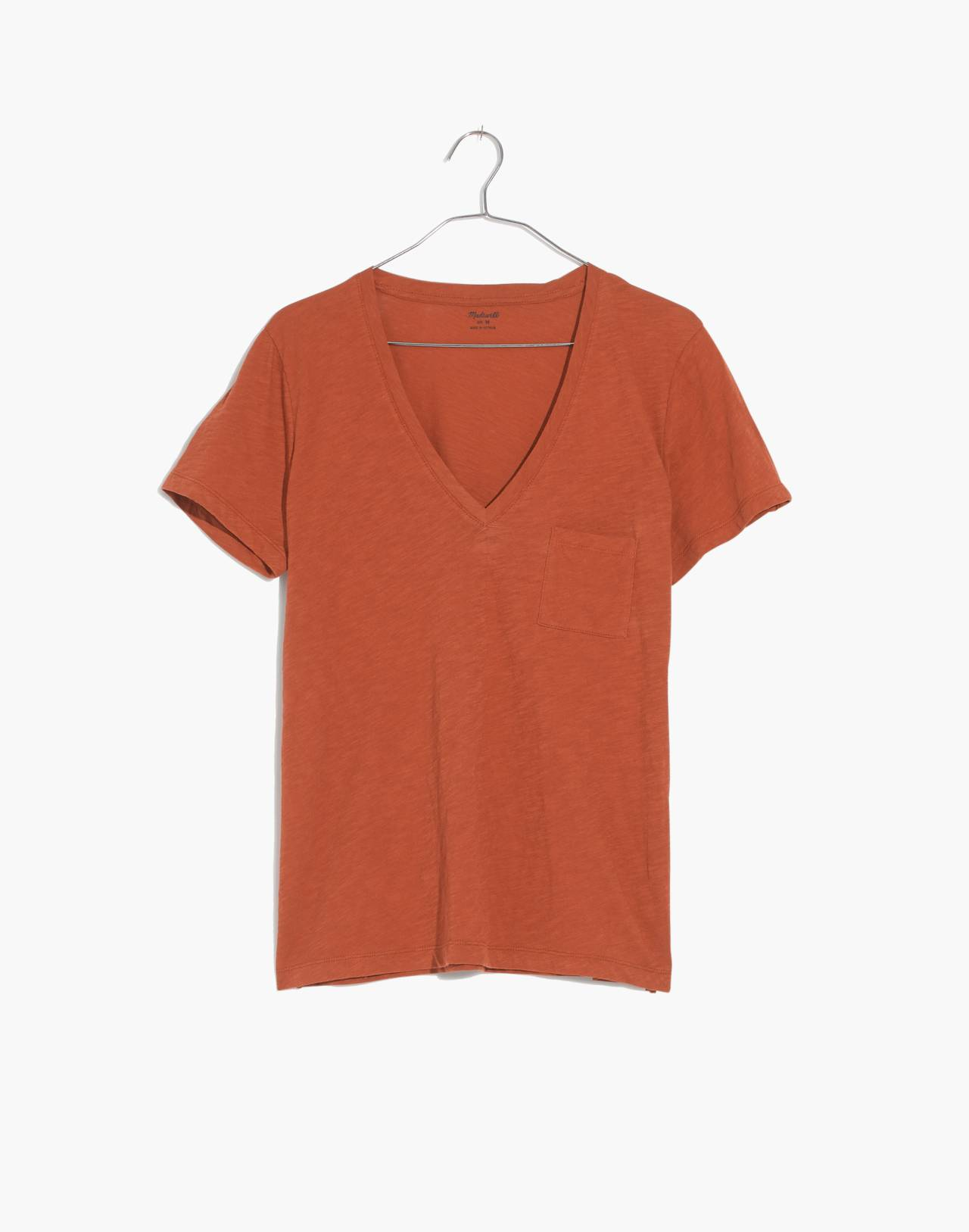 Whisper Cotton V-Neck Pocket Tee in burnt clay image 4