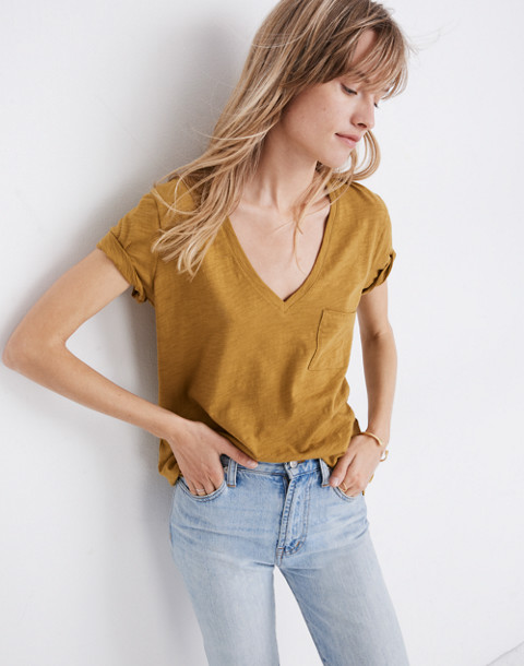 Whisper Cotton V-Neck Pocket Tee in savannah moss image 2