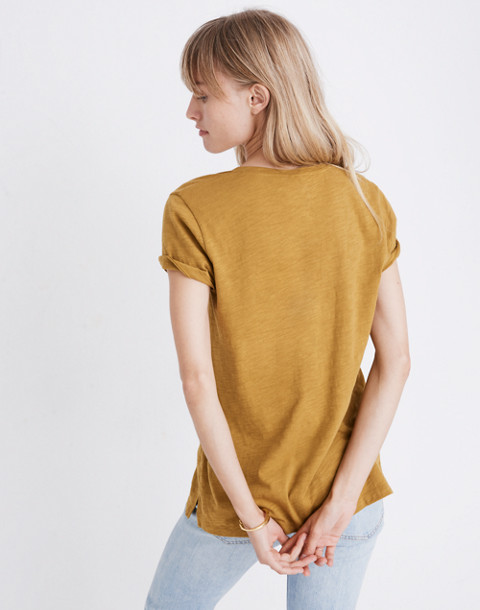 Whisper Cotton V-Neck Pocket Tee in savannah moss image 3