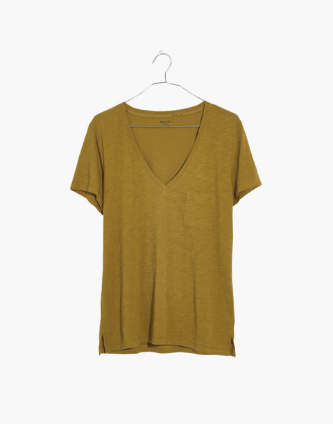 Whisper Cotton V-Neck Pocket Tee in savannah moss image 4