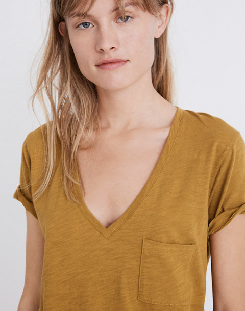Whisper Cotton V-Neck Pocket Tee in savannah moss image 1