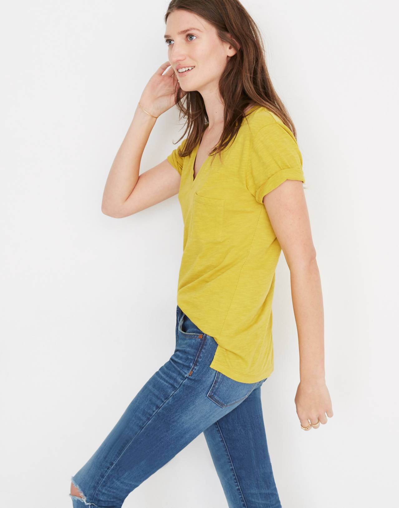 Whisper Cotton V-Neck Pocket Tee in golden meadow image 2