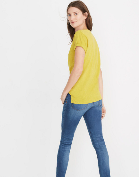 Whisper Cotton V-Neck Pocket Tee in golden meadow image 3